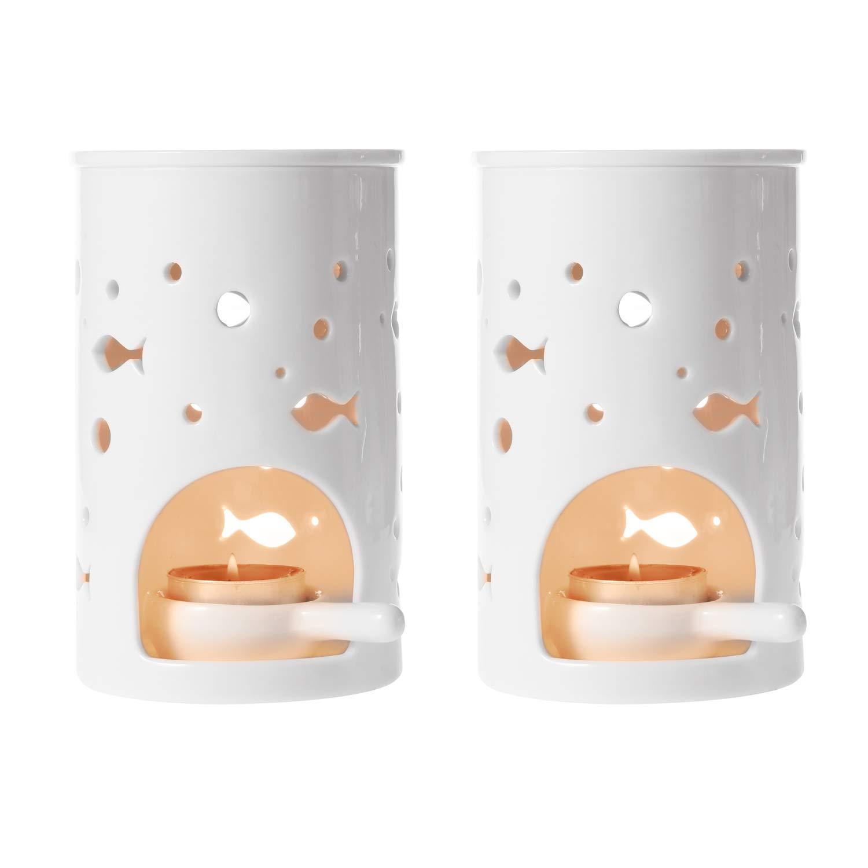 T4U Ceramic Tealight Candle Holder Oil Burner, Essential Oil Incense Aroma Diffuser Furnace Home Decoration Romantic White Set of 2, Fish Pattern