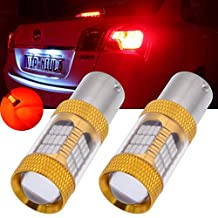 TUINCYN 2-Pack 1000 Lumens Red Super Bright 1156 BA15S 1141 7506 1095 1073 4014 54SMD Car LED Replacement Bulbs Tail Backup Stop Lights Turn Signal Reverse Brake LED Light with Lens DC 12V