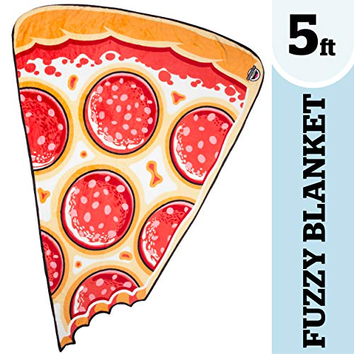 (BigMouth Inc. Pizza Slice Fuzzy Blanket - 5 ft. Plush Throw Blanket Shaped Like a Giant Pizza Slice, Perfect for Cold Nights, Camping, and More)