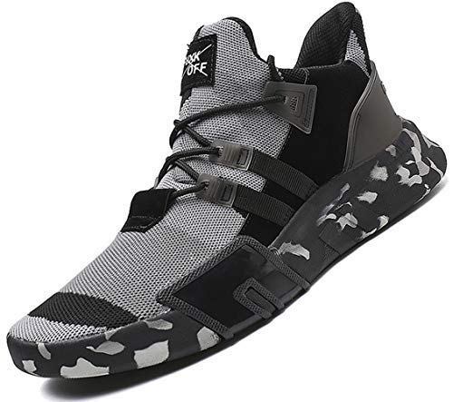 SKDOIUL Men Sneakers Size 7 for 2019 Summer mesh Breathable Sport Shoes Comfort Athletic Walking Shoes Youth Boys Trail Running Shoes Gym Sneakers Grey (1818-Black Grey-40)