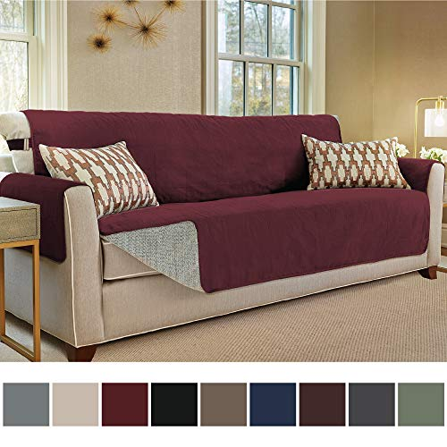 Gorilla Grip Original Slip Resistant Oversize Sofa Slipcover Protector, Seat Width Up to 78 Inch Suede-Like, Patent Pending, 2 Inch Straps, Hook, Couch Cover for Kids, Dogs, Oversized Sofa, Merlot Burgundy Leather Reclining Sofa