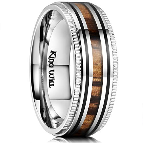 King Will Nature Mens 8mm Stainless Steel Wedding Ring Real Wood Inlay Sawtooth Edge High Polished 11 by King Will