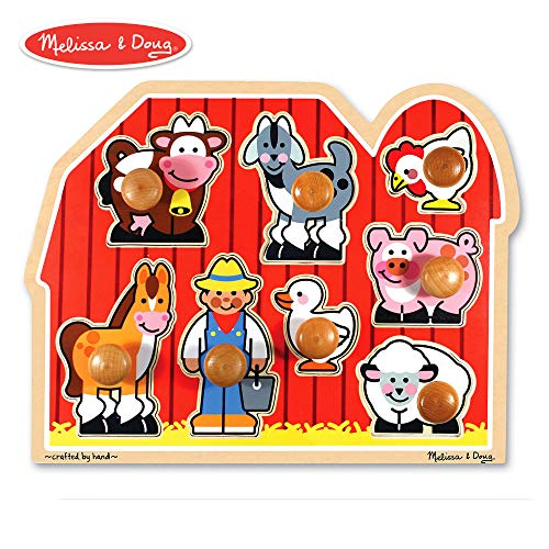 Melissa & Doug Large Farm Jumbo Knob Puzzle, Colorful Farm Artwork, Extra-Thick Wooden Construction, 8 Pieces, 1.5