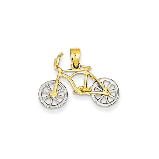 Amazon 14k two tone gold small 3d bicycle pendant jewelry 14k two tone gold small 3d bicycle pendant aloadofball Image collections