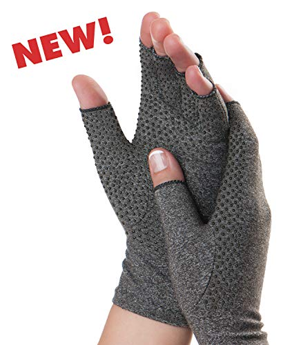 Dr. Frederick's Original Grippy Arthritis Gloves for Women & Men - Anti-Slip Compression Gloves for Arthritis Pain Relief - Rheumatoid & Osteoarthritis - Large ()