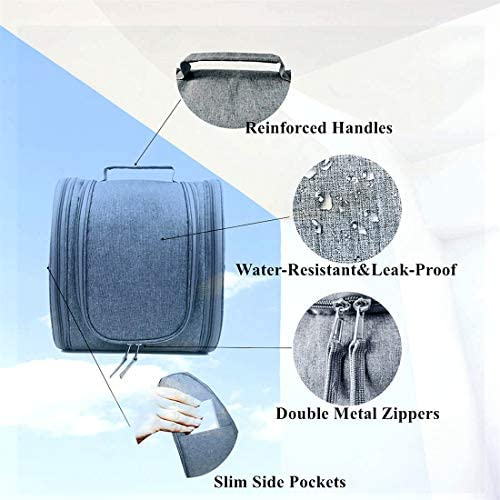 Hanging Travel Toiletry Bag for Women&Mens Toiletry Bags for Traveling-Extra Large Water-resistant Toiletry Travel Bag-Leakproof Travel Bathroom Bag Hygiene Bag-22 Compartments,Full Size Gorgero(Grey)