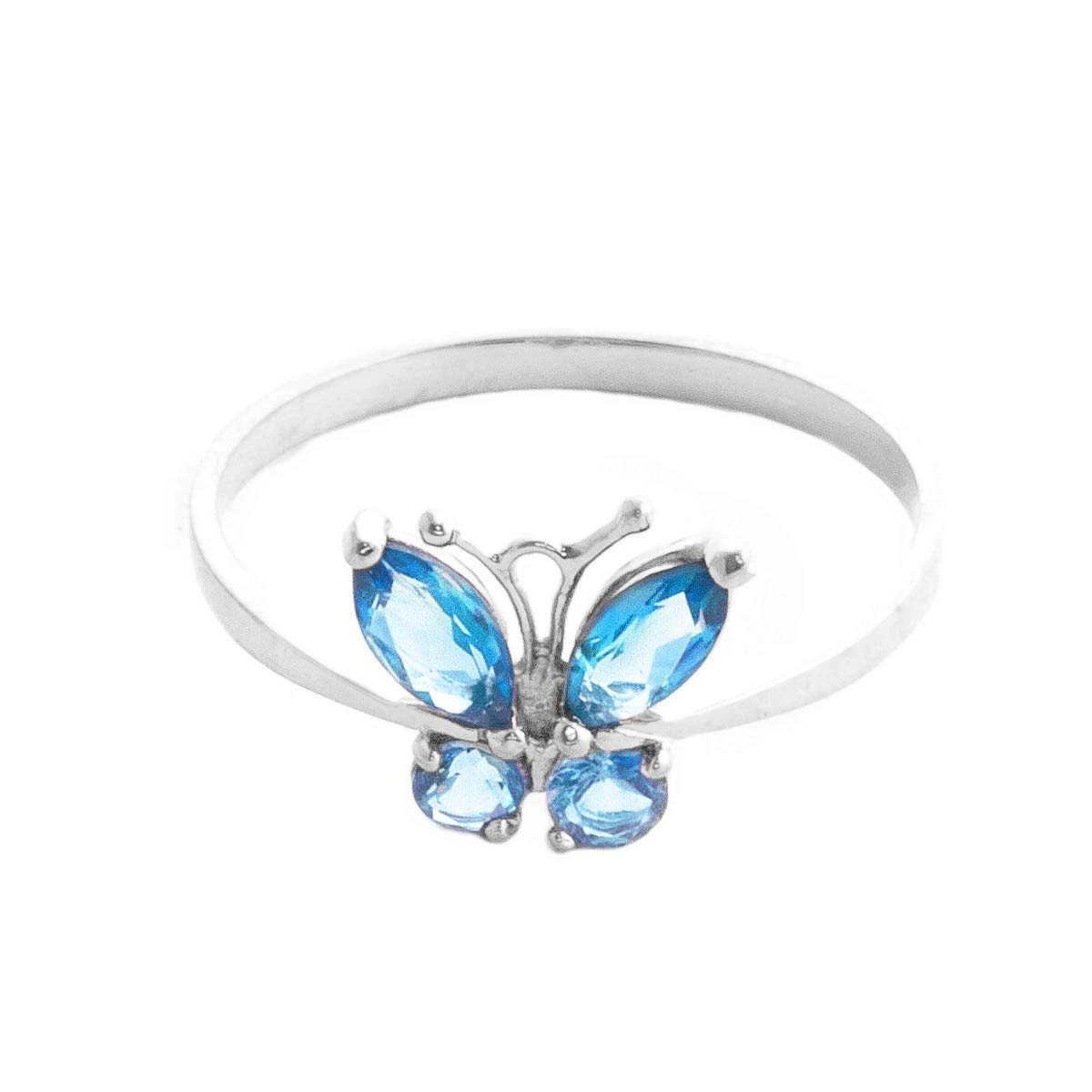 Galaxy Gold High Polished 14k Solid White Gold 0.6 ctw Blue Natural Topaz Butterfly Ring - Size 9.5