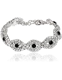 Silver Plated Clear Crystal Rhinestone Wedding Link Tennis Bracelet