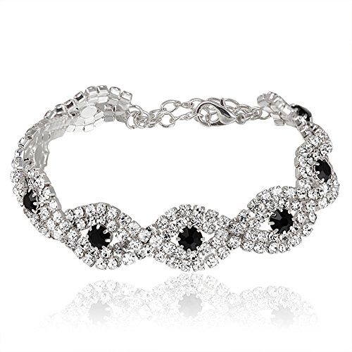 Miraculous Garden Womens Silver Plated Black Crystal Rhinestone Link Tennis Bracelets for Wedding Party