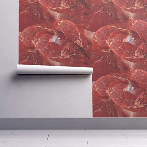 Meat Wallpaper Roll - Steak Blood Bloody Food Gaga Halloween by Peacoquettedesigns - 1 Roll 24in x 27ft ()