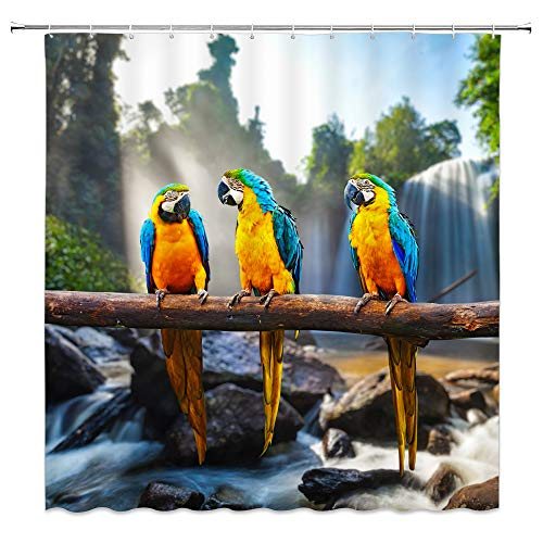 Parrot Shower Curtain Cute Parrots Birds Blue Yellow Feather Tree Branch Waterfall Rocks Green Plants Sunlight Nature Scenic Decor Fabric Bathroom Curtains,70x70 Inch Waterproof Polyester With ()