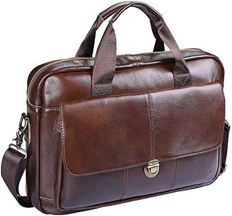 Herren Businesstasche Aktentasche Männer Handtasche Vintage Echte Leder Schulter Messenger Taschen für 14 Zoll Laptop, Braun