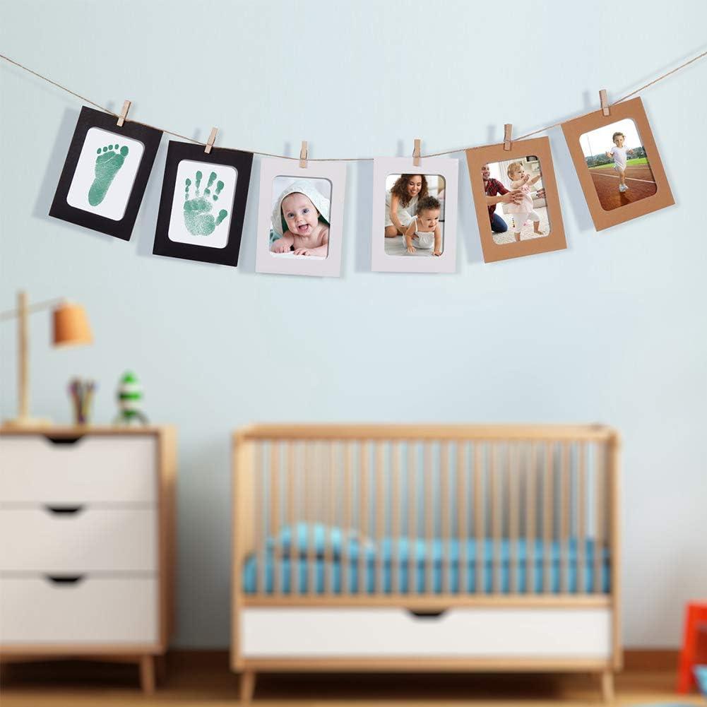 Negro + Azul + Rosa, A Kits de Tinta para Impresi/ón de Patas para Regalo de Baby Shower de 0-6 Meses PChero Clean-Touch Almohadillas de Tinta para Huellas de Manos y Huellas para Beb/és