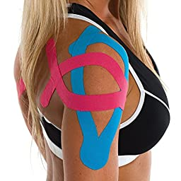 Quality High Grade Cotton Elastic Kinesiology Tape use for Joint and Muscle Pain Relief , Recovery Sport Tape for Athletes Uncut Rolls 2Inch x 16.4-Feet Blue SN004