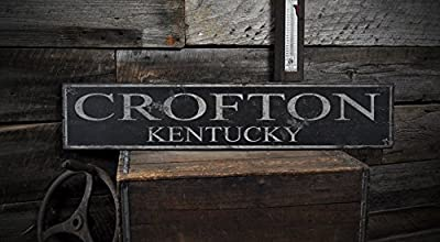 CROFTON, KENTUCKY - Rustic Hand-Made Vintage Wooden USA City Sign