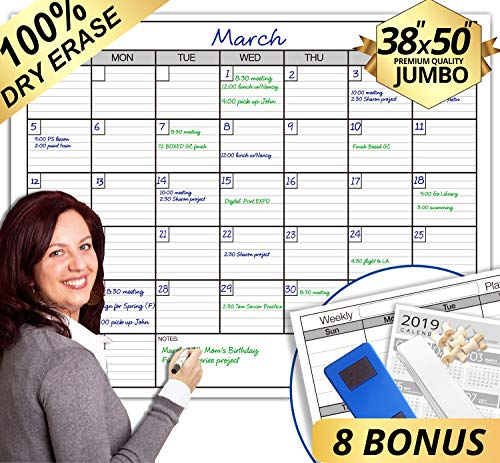 Dry Erase Monthly Laminated Jumbo Wall Calendar, 38-Inch by 50-Inch (Monthly Board Erase Calendar)