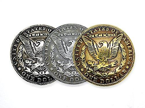 CRAFTMEmore Morgan Dollar Concho Eagle Coin Concho Gaur Rodeo Cowboy Screw Back Leather Craft Embellishments 1 1/2 Inches 2 PCS (Black Silver) (Eagle Concho)