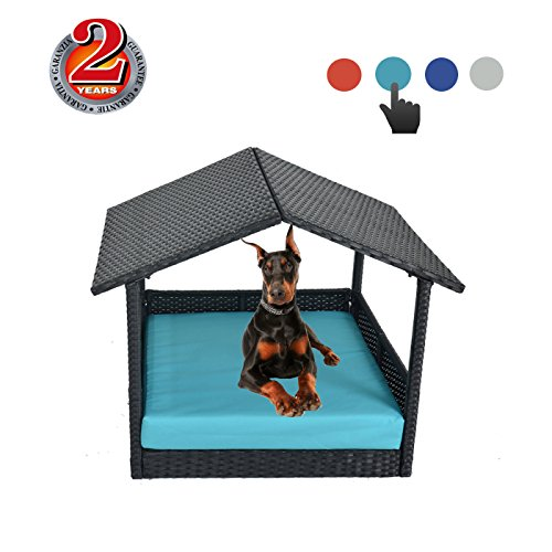Outdoor Rattan Pet House Garden Patio Cushioned Dog House-Easy Assembled(One Size,4 Colors Cushion )