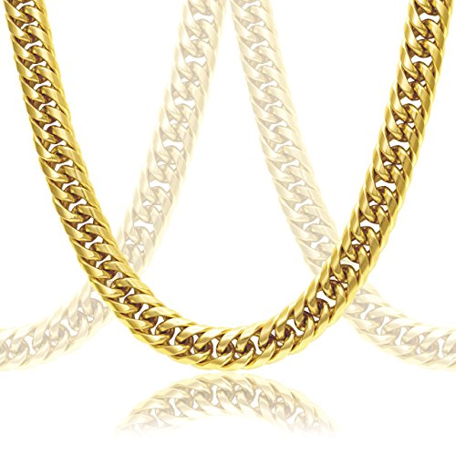 Thick 18k Gold Plated Cuban Link Chain For Men + Gift Case