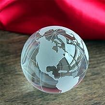 Crystal glass ball world globe ball white feng shui home office desktop maritime decoration earth world map craft statue 6cm