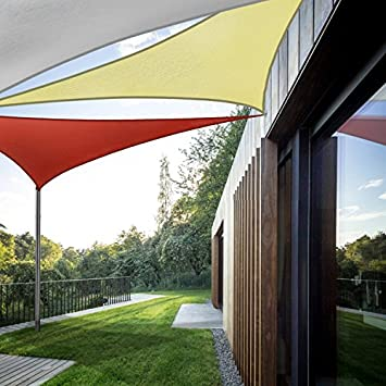Coarbor Waterproof UV Block 12 x12 x12 Sun Shade Sail Canopy Triangle 180 GSM Polyester for Pergola Carport Awning Patio Yard- Customized Red