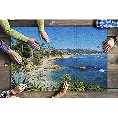 Laguna Beach, California - Aerial View of The Coastline & Palm Trees 9028977 (Premium 1000 Piece Jigsaw Puzzle for Adults, 20x30, Made in USA!): Toys & Games
