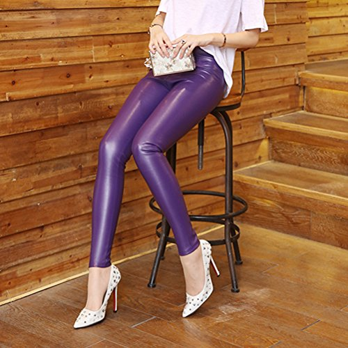 Pants PU 8932 High Women Leather Hot Purple Faux Waist Laixing Stretch Skinny Pencil Trousers pqfRwZ