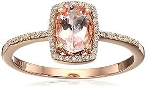 0.75 Carat Genuine Morganite & White Diamond 14K Rose Gold Ring, Size 7