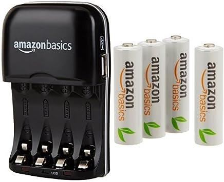 AmazonBasics - Cargador de pilas AA y AAA y pack de 4 pilas recargables AA (1000 ciclos, 2000 mAh): Amazon.es: Electrónica