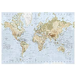 New Ikea Premiar World Map Picture with Framecanvas Large 55 X 78