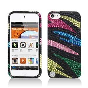 Apple iPod touch 5 / 5th Generation - Full Diamond Bling Hard Shell Case (Zebra - Rainbow)