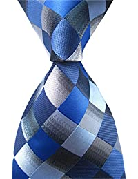 Men's Classic Checks Dark Blue Grey Jacquard Woven Silk Tie Necktie