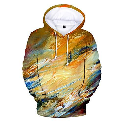 Fastbot Sweatshirts for Mens Lover Long-Sleeved Hoodie Sweatshirt Tie-dye Winter Top Blouse Yellow