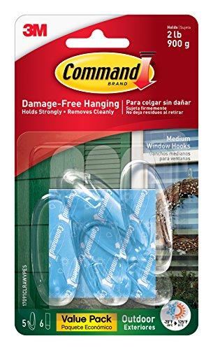 Hooks Value Pack (Command Outdoor Window Hooks Value Pack, Medium, Clear, 5-Hooks)