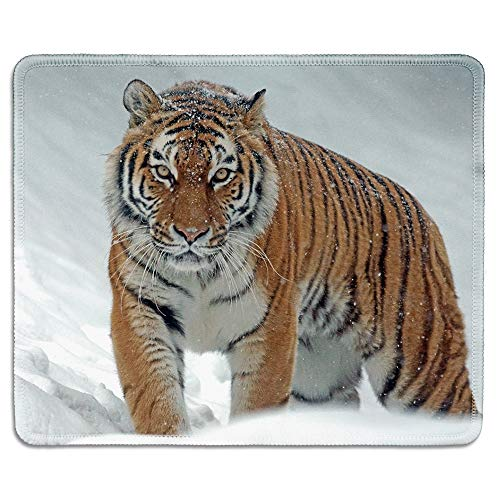 dealzEpic - Wild Animal Art Mousepad - Natural Rubber Mouse Pad Printed with Tiger in The Snow - Stitched Edges - 9.5x7.9 inches