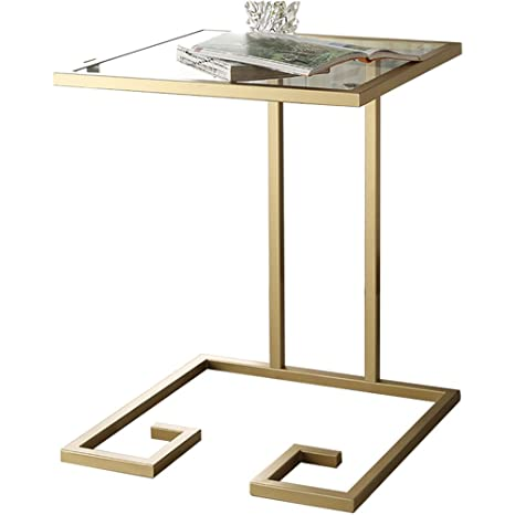 Storage rack ZHIRONG Sofa Side Table Modern Nordic Coffee Table Snack Table Metal + Tempered Glass Bedside Table Computer Desk Accent Side Table ...