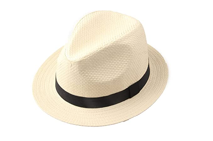 Dantiya Men s Lover Straw Fedora Panama Sun Hat(beige)  Amazon.ca ... 293f94773152