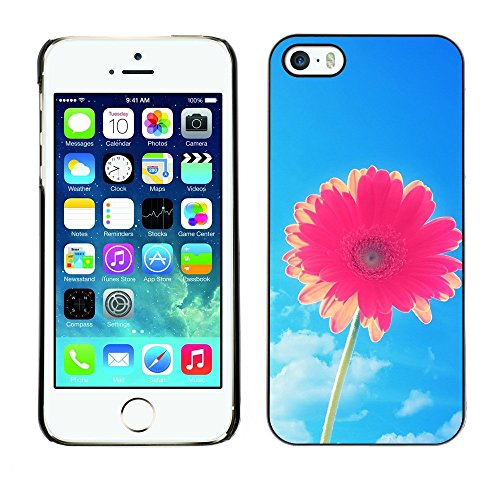 Soft Silicone Rubber Case Hard Cover Protective Accessory Compatible with Apple iPhone? 5 & 5S - flower blue skies pink summer sun