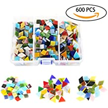 600pcs/400g Bulk Mosaic Tile Assortment, Mixed Colors Stained Glass, Square, Triangle, Rhombus, Home Decoration DIY Arts & Craft (Non-Transparent)