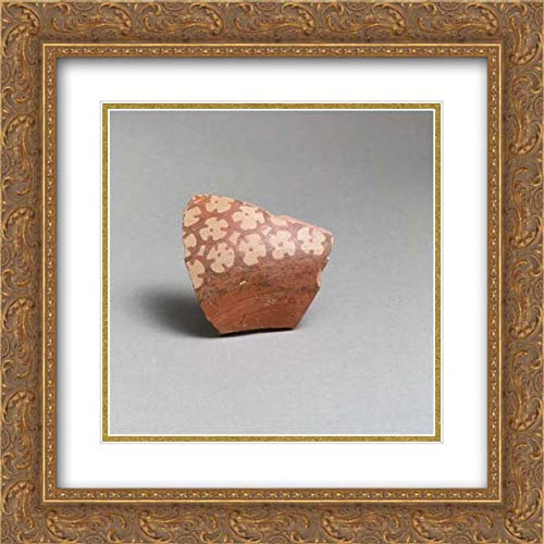 Minoan Culture - 20x20 Gold Ornate Frame and Double Matted Museum Art Print - Terracotta Vessel Fragment with Rosettes