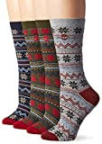 Timberland Women's Vintage Style Cotton Crew Sock 4-Pack Assorted, Forest Night/Navy/Light Gray/Forest Night, One Size