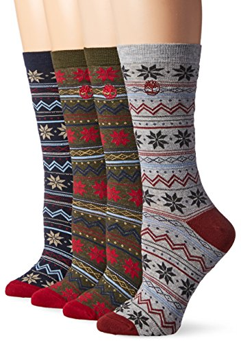 Timberland Womens Vintage Style Cotton Crew Sock 4-Pack Assorted, Forest Night/Navy/Light Gray/Forest Night, One Size