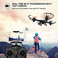 DBPOWER UDI U842 Predator WiFi FPV Drone with HD Camera 2.4G 4CH 6 Axis Gyro RTF Low Voltage Alarm, Gravity Induction and Headless Mode Includes Bonus Battery by DBPOWER