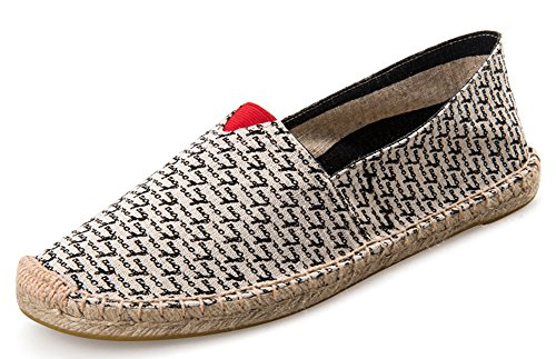 IDIFU Women's Men's Unisex Slip On Espadrilles Flat Loafers Shoes (Black, 5.5 men D(M) US) by IDIFU