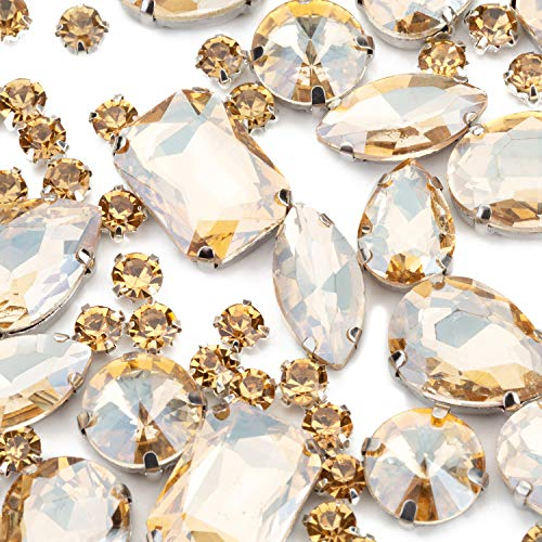 Choupee 130PCS Sew on Rhinestones in Metal Sewing Setting Sew on Jewel with Prong Champagne Sew on Glass Gems Claw Stones Mix Shape for Dress, Bag, Jeans, Clothes, Dance Costume, Shoes, Belt, Garment