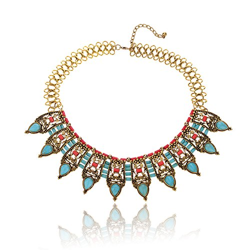Ginasy Statement Necklace - Bohemian Jewelry Accessory Gift for Women in Antiallergic Alloy (Bib (Link Costume Template)