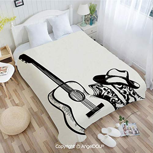 AngelDOU Super Soft Warm Flannel Blanket W31 xL47 Country Music Theme with Cowboy Shoes Hat and Guitar Instrument Sketch Art Couch Bedroom Throw Blanket.