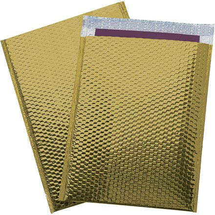 - 250#0 Glamour Gold Bright and Shiny Metallic Exterior Padded Bubble Mailers Envelopes Self Sealing Bags 6x10