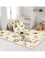 Baby Play Mat, Extra Large Baby Crawling Mat, Anti-Slip Folding Puzzle Mat Playmat,Large Waterproof Foam Padded Play Mat for Infants, Reversible Foam Floor mat(70 x 59 in)