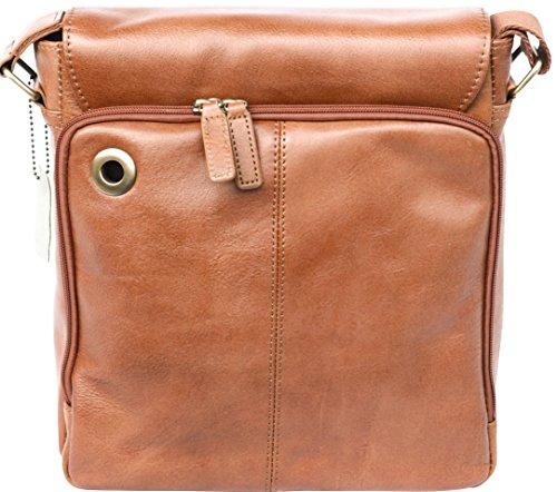 Bolso bandolera unisex - Con compartimento para tableta - Cuero suave - Tostado Tostado
